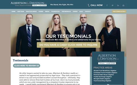 Screenshot of Testimonials Page aldavlaw.com - Client Testimonials | Albertson & Davidson, LLP. - captured Feb. 5, 2016
