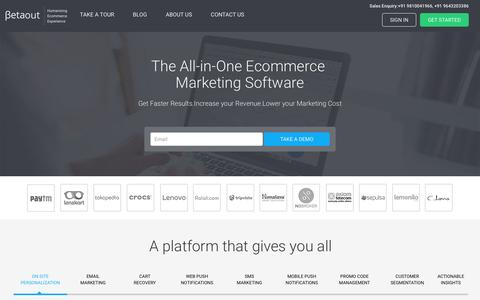 Screenshot of Home Page betaout.com - Marketing Automation Suite & Customer Engagement Software For Ecommerce Companies - captured March 21, 2017