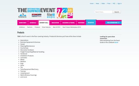 Screenshot of Products Page tisewest.com - The International Surface Event - SURFACES | StonExpo/Marmomacc Americas | TileExpo Products - captured Nov. 5, 2014