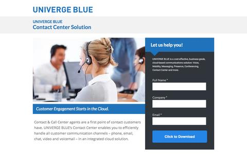 Screenshot of Landing Page univergeblue.com - Contact Center Solution - captured Feb. 27, 2016