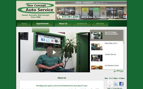Screenshot of About Page newconceptauto.com - New Concept Auto Service | Auto Repair Overland Park KS | Engine Repair Johnson County KS | Brake Repair 66212 | Transmission Repair 66061 | Auto Electrical Service Overland Park KS - captured Oct. 26, 2014