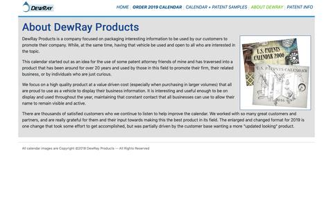 Screenshot of About Page patentcalendars.com - Patent Calendars - About DewRay Products - captured Oct. 31, 2018