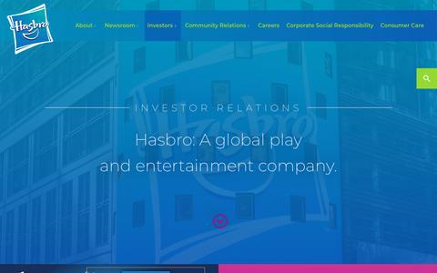 Screenshot of hasbro.com - Investor Relations | Hasbro, Inc. - captured Jan. 3, 2018