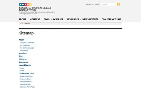 Screenshot of Site Map Page kcri.ac.tz - Sitemap | Neglected Tropical Disease NGO Network - captured Oct. 15, 2018