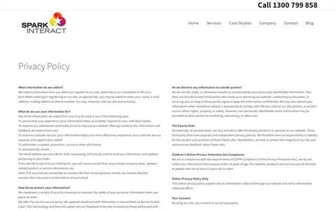 Screenshot of Privacy Page sparkinteract.com.au - Privacy Policy | Spark InteractSpark Interact Web Design - captured July 10, 2016