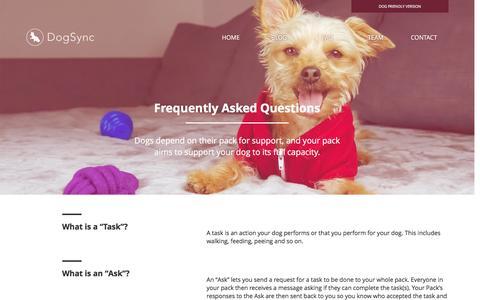 Screenshot of FAQ Page dogsync.com - DogSync - FAQ - captured Feb. 4, 2016