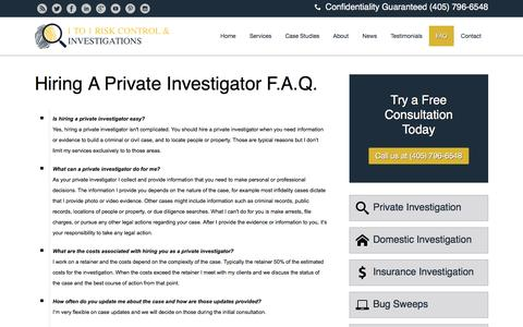 Screenshot of FAQ Page 1to1riskcontrol.com - Hiring A Private Investigator Questions That are Frequently Asked - captured Dec. 21, 2016