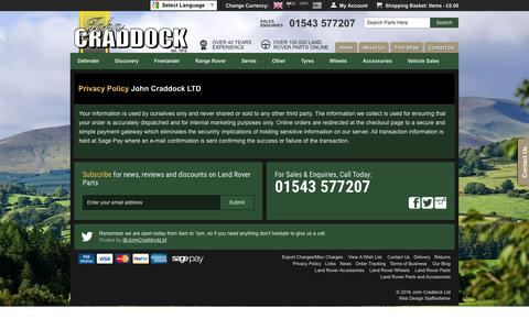 Screenshot of Privacy Page johncraddockltd.co.uk - Privacy Policy - John Craddock Land Rover Parts Website - captured Jan. 9, 2016