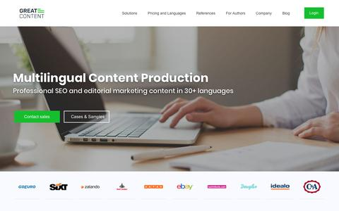 Screenshot of Home Page greatcontent.com - greatcontent – Multilingual Content Production in 30+ languages - captured Sept. 23, 2018