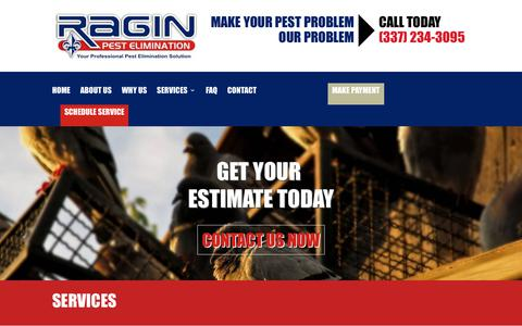Screenshot of Services Page raginpest.com - Services | Ragin Pest Elimination - captured Oct. 20, 2018