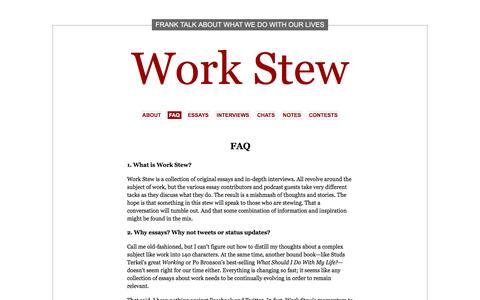 Screenshot of FAQ Page workstew.com - FAQ   Work Stew - captured Aug. 14, 2016