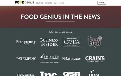 Screenshot of Press Page getfoodgenius.com - Food Genius in the News | Food Genius - captured Sept. 16, 2014