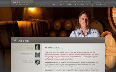 Screenshot of Team Page pineridgevineyards.com - Our Team |  Pine Ridge Vineyards - captured Sept. 29, 2014
