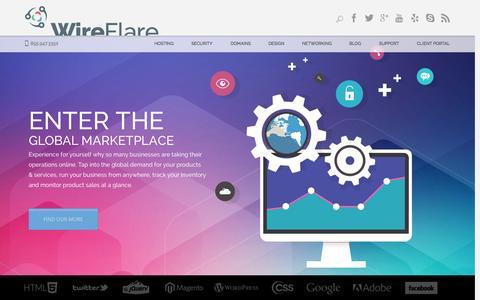 Screenshot of Home Page wireflare.com - Web Hosting, Web Design, SEO, Digital Marketing - WireFlare - captured Jan. 23, 2015
