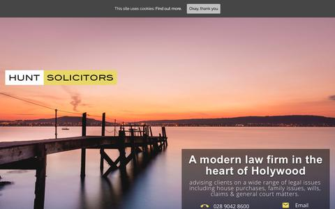 Screenshot of Home Page huntsolicitors.com - Hunt Solicitors - quality advice in Holywood, North Down & Belfast - captured July 24, 2018