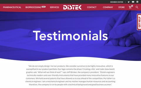 Screenshot of Testimonials Page distekinc.com - Testimonials - Distek, Inc. - captured Aug. 7, 2018