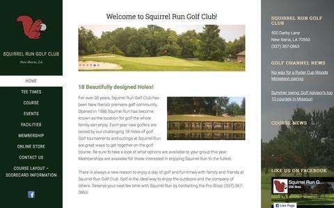 Screenshot of Home Page squirrel-run.com - Squirrel Run Golf Club – New Iberia, LA - captured July 4, 2018