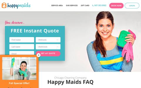 Screenshot of FAQ Page happymaids.com - Chicago Cleaning Company | Northwest Chicago Maids | Happy Maids - captured Nov. 4, 2018