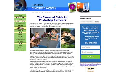 Screenshot of Home Page essential-photoshop-elements.com - Adobe Photoshop Elements Tutorials, Tips, and Help for Mac or PC - captured Sept. 23, 2018