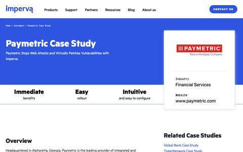 Screenshot of Case Studies Page imperva.com - Paymetric Case Study | Resource Center | Imperva - captured April 1, 2019