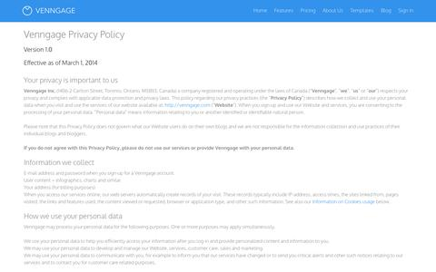 Screenshot of Privacy Page venngage.com - Venngage | Privacy Policy - captured Oct. 26, 2014