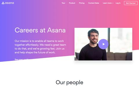 Screenshot of Jobs Page asana.com - Jobs · Asana - captured June 1, 2018
