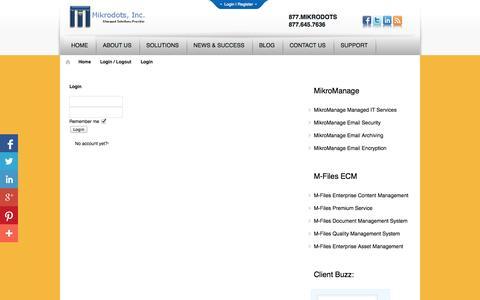 Screenshot of Login Page mikrodots.com - Login | Mikrodots, Inc. - captured Oct. 7, 2014