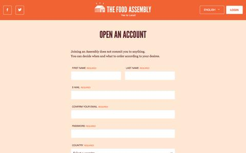 Screenshot of Signup Page thefoodassembly.com - The Food Assembly - captured Nov. 28, 2016