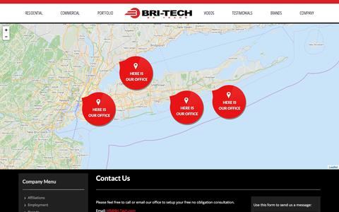 Screenshot of Contact Page bri-tech.com - NY Estate Automation | Apartment Automation NYC | Home Theaters - captured Oct. 11, 2017