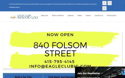 Screenshot of Home Page eagleclubig.com - San Francisco's Indoor Driving Range | Club Repairs| Regripping | Club Sales | Eagle Club Indoor Golf - captured Sept. 26, 2018