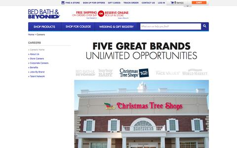 Screenshot of Jobs Page bedbathandbeyond.com - Careers - BedBathandBeyond.com - captured Sept. 19, 2014