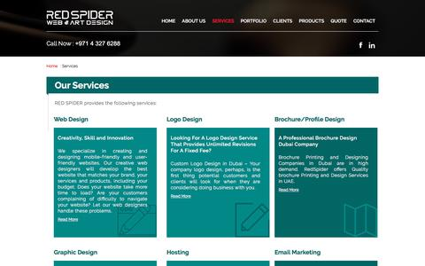 Screenshot of Services Page redspider.ae - Website Design and Development Services in Dubai UAE - captured July 14, 2017