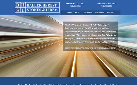 Screenshot of Home Page baller.com - Communications law firm - Baller Herbst Stokes & Lide - captured Sept. 5, 2015