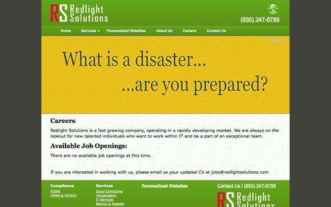 Screenshot of Jobs Page redlightsolutions.com - Careers at Redlight Solutions - captured Oct. 1, 2014