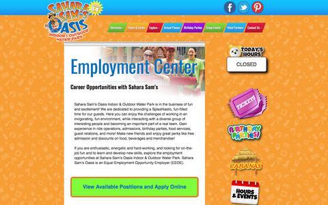Screenshot of Jobs Page saharasams.com - Employment Opportunities | Sahara Sam's Oasis - captured Oct. 4, 2017