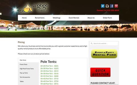 Screenshot of Pricing Page agogorentals.com - Cincinnati Party Rental Product Pricing - A Gogo Rentals - captured Nov. 1, 2014