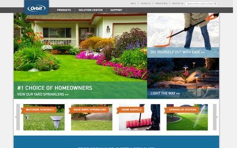 Screenshot of Home Page orbitonline.com - Orbit Irrigation - captured Jan. 23, 2015