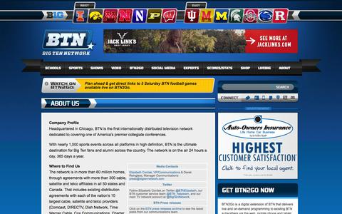 Screenshot of About Page btn.com - About Us «  Big Ten Network - captured Sept. 25, 2014
