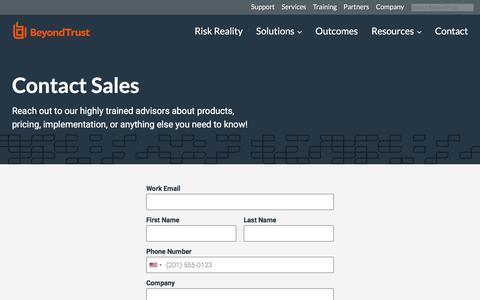 Screenshot of Contact Page beyondtrust.com - Contact BeyondTrust for Secure Access Solutions | BeyondTrust - captured Jan. 8, 2020