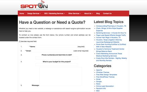 Screenshot of Contact Page spotonseo.com - Have a Question or Need a Quote? - captured Feb. 10, 2017
