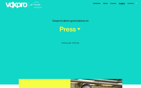 Screenshot of Press Page voxprogroup.com - Press : Voxpro - Global Customer Experience Outsourcer - captured Sept. 28, 2018