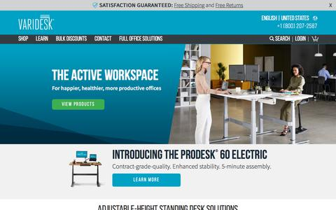 Screenshot of Home Page varidesk.com - Height Adjustable Standing Desks | VARIDESK Sit-to-Stand Desks - captured March 2, 2018