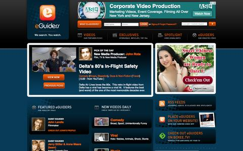 Screenshot of Home Page eguiders.com - eGuiders - Online Internet Video Clips and Exclusives Video Highlights - We Search. You Watch. - captured Oct. 12, 2015