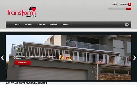 Screenshot of Home Page transformhomes.com.au - Transform Homes - captured Oct. 7, 2014