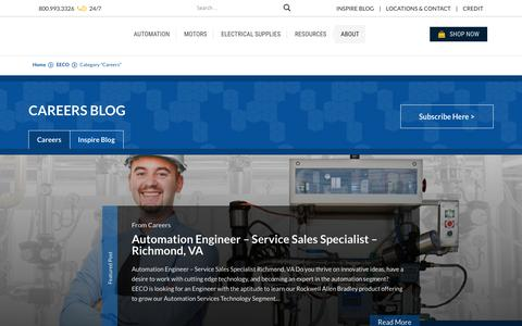 Screenshot of Jobs Page eecoonline.com - Careers Archives | EECO - Electrical Equipment Company - captured Sept. 27, 2018