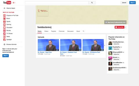 Screenshot of YouTube Page youtube.com - footdoctorsnj  - YouTube - captured Oct. 23, 2014