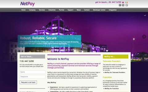 Screenshot of Home Page netpay.ie - NetPay – Wholesale, Reseller and Corporate card payment solutions - captured Sept. 1, 2015