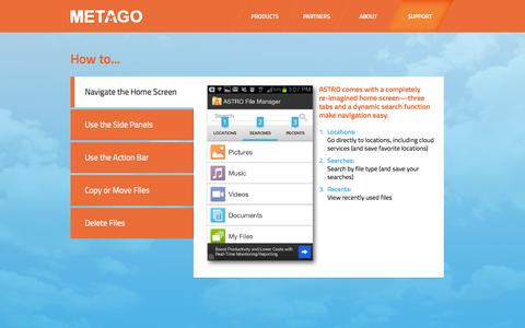 Screenshot of Support Page metago.net - Metago - Support - captured Oct. 31, 2014