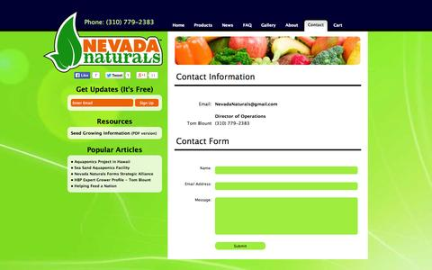 Screenshot of Contact Page nevadanaturals.com - Nevada Naturals - Contact - captured Oct. 9, 2014