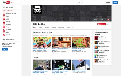 Screenshot of YouTube Page youtube.com - J!NX Clothing  - YouTube - captured Oct. 29, 2014